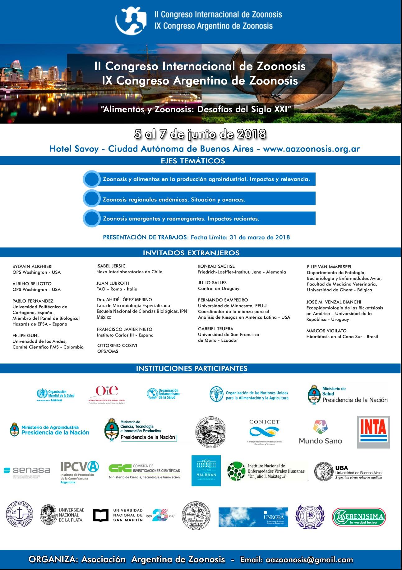 II Congreso Internacional de Zoonosis – 4 al 7 de Junio de 2018 – Hotel Savoy